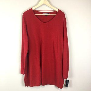Karen Scott Red Scoop Neck Long Sleeve Sweater